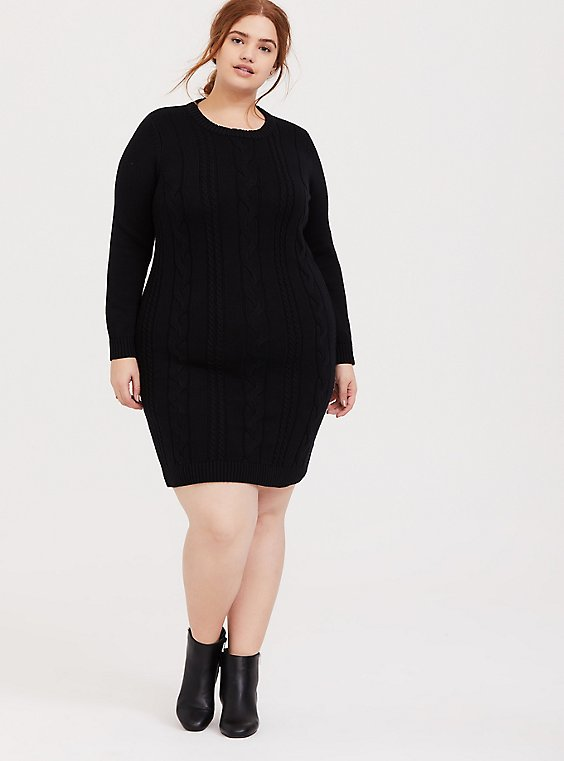 Black Cable Sweater-Knit Bodycon Dress, DEEP BLACK, hi-res