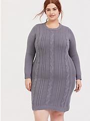 Slate Grey Cable Sweater-Knit Bodycon Dress, DARK PEARL GREY, alternate