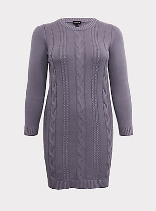 Plus Size Slate Grey Cable Sweater-Knit Bodycon Dress, DARK PEARL GREY, flat