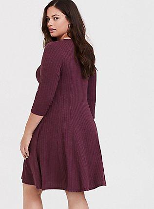 Purple Wine Rib Fluted Dress, EGGPLANT, alternate