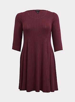Purple Wine Rib Fluted Dress, EGGPLANT, flat