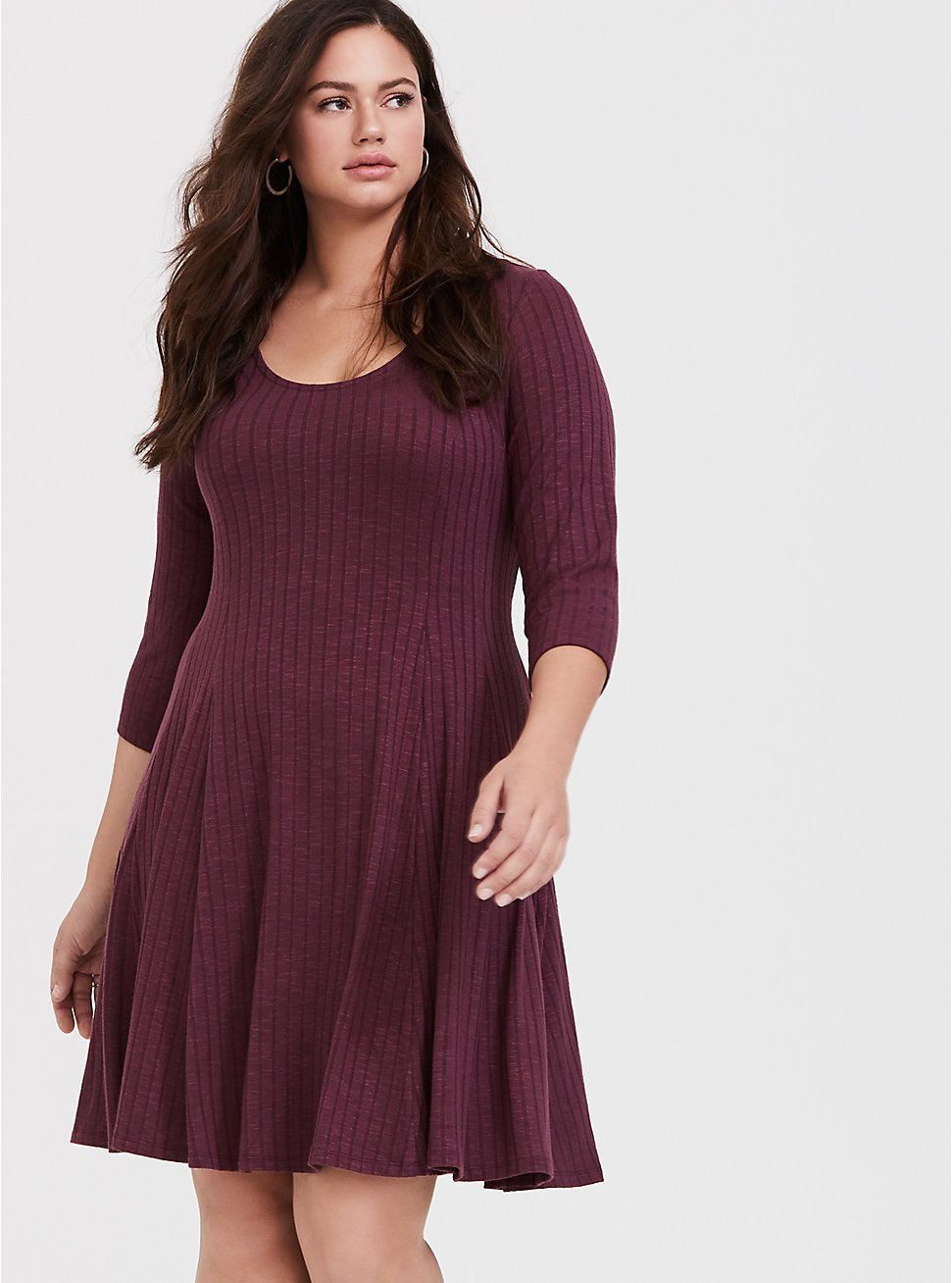 Purple Wine Rib Fluted Dress, EGGPLANT, hi-res