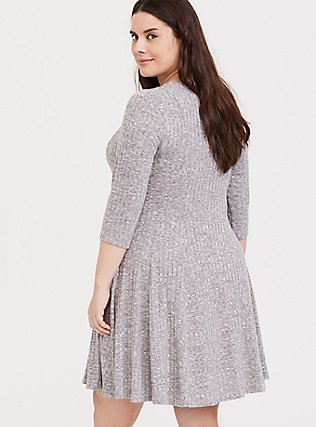 Super Soft Plush Light Grey Ribbed Fluted Dress, HEATHER GREY, alternate