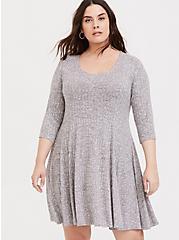 Super Soft Plush Light Grey Ribbed Fluted Dress, HEATHER GREY, hi-res