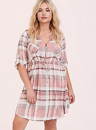 Blush Pink Plaid Zip Challis Shirt Dress, , alternate