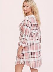 Plus Size Blush Pink Plaid Zip Challis Shirt Dress, , alternate