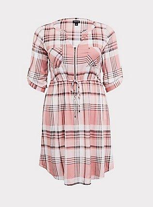 Blush Pink Plaid Zip Challis Shirt Dress, , flat