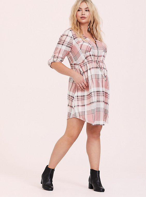 Blush Pink Plaid Zip Challis Shirt Dress, , hi-res