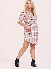 Plus Size Blush Pink Plaid Zip Challis Shirt Dress, , hi-res