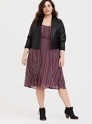 Mauve Purple Stripe Chiffon Midi Dress, STRIPE - PURPLE, alternate