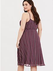 Plus Size Mauve Purple Stripe Chiffon Midi Dress, STRIPE - PURPLE, alternate
