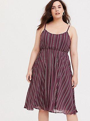 Mauve Purple Stripe Chiffon Midi Dress, STRIPE - PURPLE, hi-res