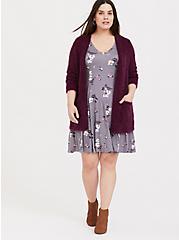 Plus Size Grey Floral Jersey Fluted Dress, FLORAL - GREY, alternate