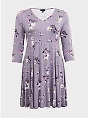 Grey Floral Jersey Fluted Dress, FLORAL - GREY, hi-res