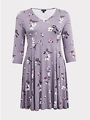 Plus Size Grey Floral Jersey Fluted Dress, FLORAL - GREY, hi-res