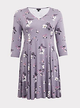 Grey Floral Jersey Fluted Dress, FLORAL - GREY, flat