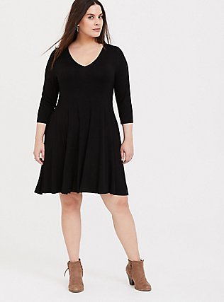 Black Jersey Trapeze Dress, DEEP BLACK, alternate