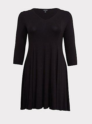 Black Jersey Trapeze Dress, DEEP BLACK, flat