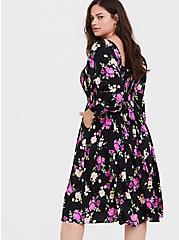 Black Floral Challis Smocked Dress, FLORAL - BLACK, alternate