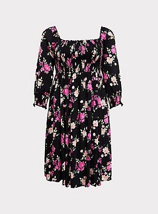 Black Floral Challis Smocked Dress, FLORAL - BLACK, flat