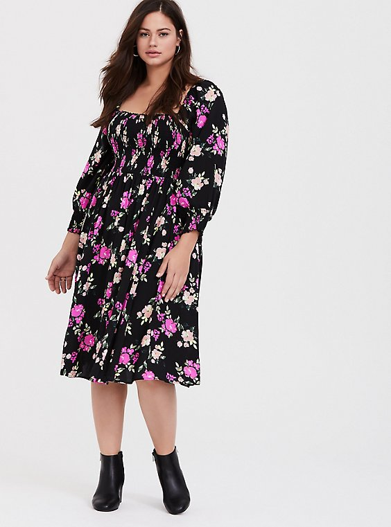 Black Floral Challis Smocked Dress, , hi-res