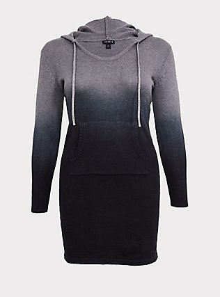 Heathered Grey & Black Ombre Hoodie Dress, , flat