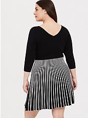 Black & White Stripe Sweater Knit Mini Skater Dress, BLACK  WHITE, alternate