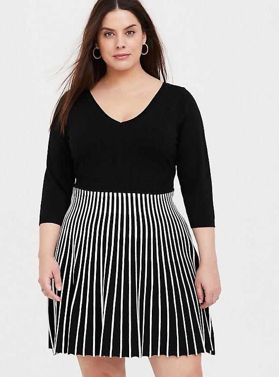 Black & White Stripe Sweater Knit Mini Skater Dress, , hi-res
