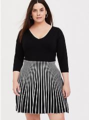 Black & White Stripe Sweater Knit Mini Skater Dress, BLACK  WHITE, hi-res