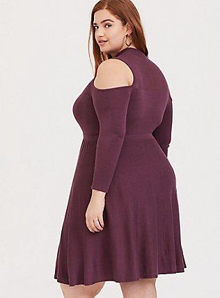 Purple Wine Sweater-Knit Cold Shoulder Mock Neck Skater Dress, EGGPLANT, alternate