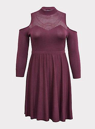 Purple Wine Sweater-Knit Cold Shoulder Mock Neck Skater Dress, EGGPLANT, flat