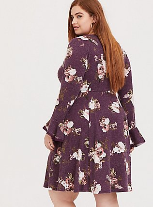 Purple Wine Floral Hacci Skater Dress, FLORAL - PURPLE, alternate