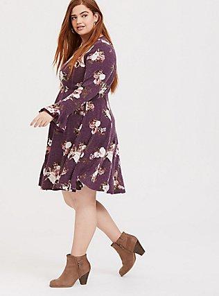 Purple Wine Floral Hacci Skater Dress, FLORAL - PURPLE, hi-res