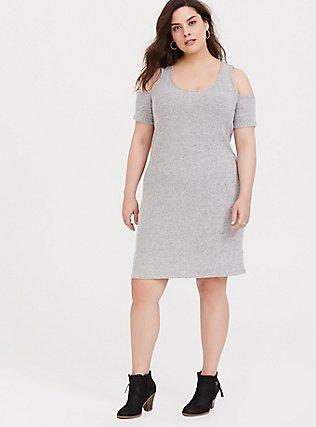 Heather Grey Rib Hacci Cold Shoulder Dress, HEATHER GREY, alternate