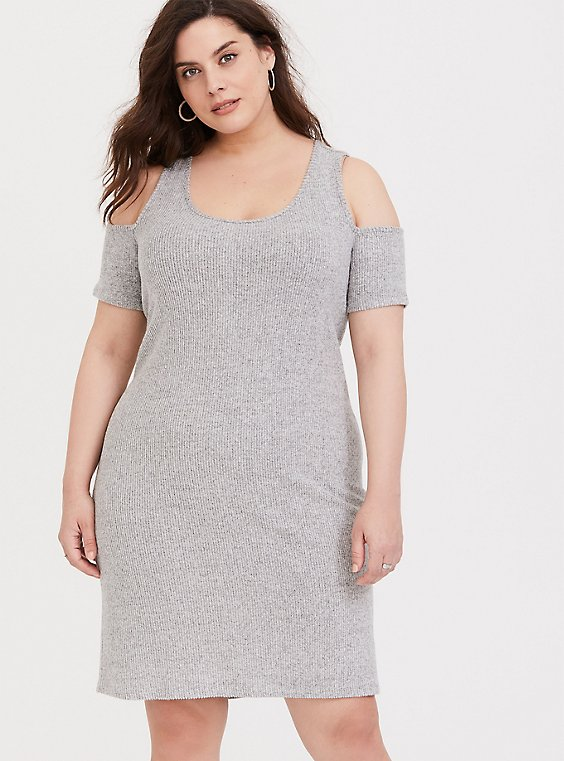Heather Grey Rib Hacci Cold Shoulder Dress, , hi-res