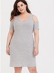 Heather Grey Rib Hacci Cold Shoulder Dress, HEATHER GREY, hi-res