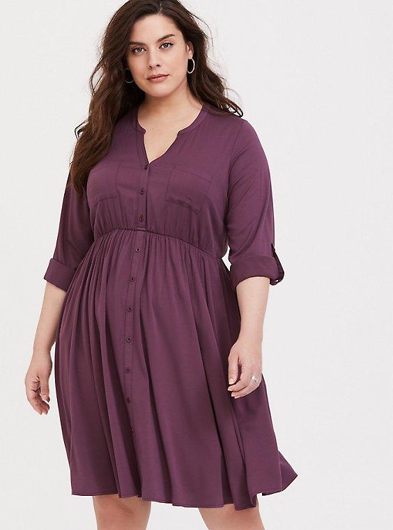Purple Wine Challis Button-Front Shirt Dress, , hi-res