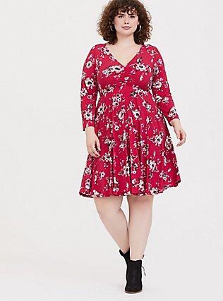 Red Floral Studio Knit Skater Dress, FLORAL - RED, alternate