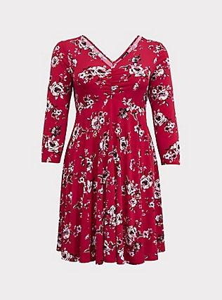 Red Floral Studio Knit Skater Dress, FLORAL - RED, flat