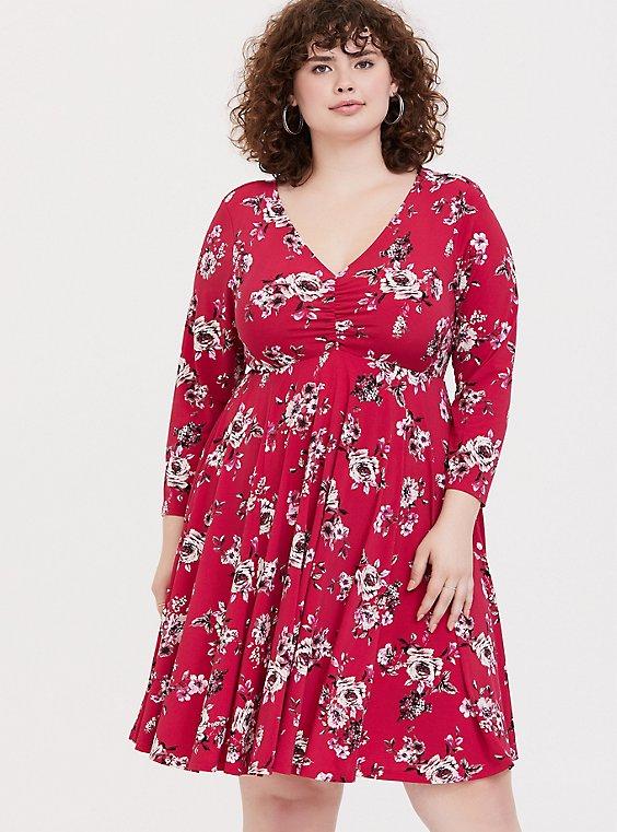 Plus Size Red Floral Studio Knit Skater Dress, , hi-res