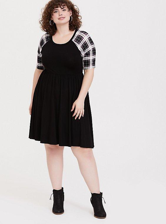 Plus Size Black & Plaid Jersey Skater Dress, , hi-res