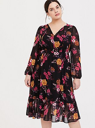 Black Floral Chiffon Midi Dress, FLORALS-BLACK, alternate