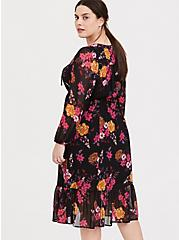 Black Floral Chiffon Midi Dress, FLORALS-BLACK, alternate