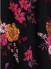 Plus Size Black Floral Chiffon Midi Dress, FLORALS-BLACK, alternate
