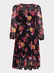 Black Floral Chiffon Midi Dress, FLORALS-BLACK, hi-res