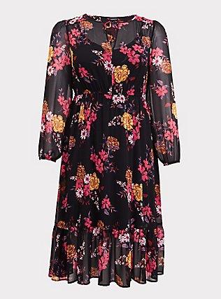 Black Floral Chiffon Midi Dress, FLORALS-BLACK, flat
