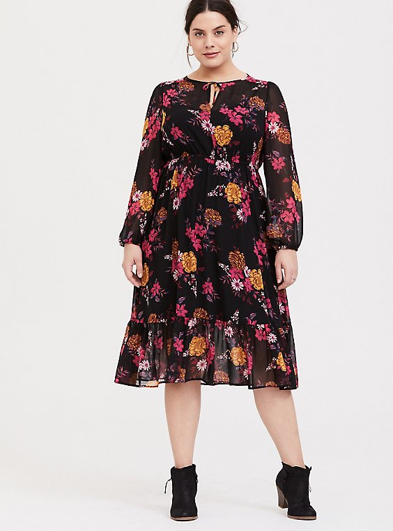 Black Floral Chiffon Midi Dress, , hi-res