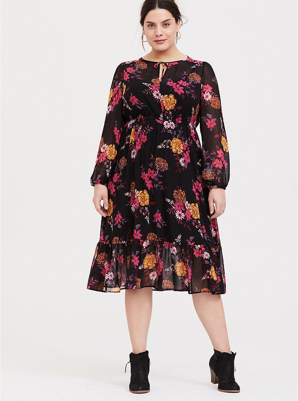 Plus Size Black Floral Chiffon Midi Dress, FLORALS-BLACK, hi-res