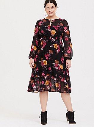 Black Floral Chiffon Midi Dress, FLORALS-BLACK, hi-res