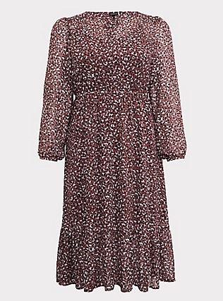 Walnut Leopard Chiffon Midi Dress, LEOPARDS-PINK, flat